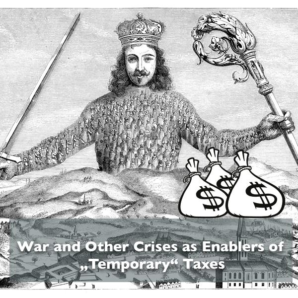 Thomas Hobbes Leviathan; underneath three bags of money
